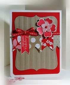 handmade card ... kraft and red ... flower and hanging penants ... wide stripe embossed label .. Stampin' Up!