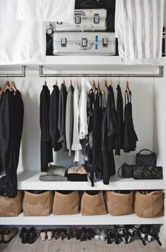 I love to use soft sided bins/baskets (i get mine from world market) to keep unmentionables and other hard-to-fold-well items. It keeps shelves looking neat and makes looking at all your stuff easy
