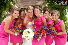 Love the bright vivid colors in this wedding party attire     fort collins colorado wedding photography