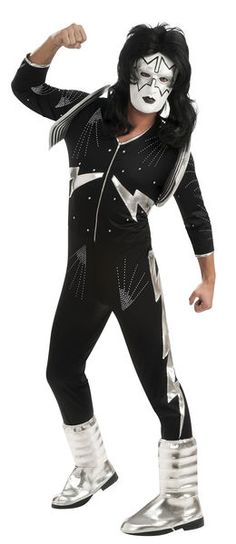 Product Description Adult Halloween Costumes - This Deluxe Plus Size KISS The Spaceman Costume includes the black and silver jumpsuit with silver boot tops and the mask. Includes jumpsuit w/boot tops mask Kiss Halloween Costumes, Kiss Costume, Costume Shop, Movie Costumes, Mascot Costumes, Adult Costumes, Wicked Costumes, Halloween Party, Singer Costumes
