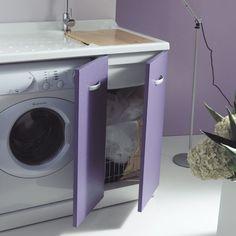 Mobile lavanderia portalavatrice 124x61 Sfera 2 con cesto portabiancheria e…