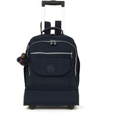 Kipling Sanaa Rolling Backpack (£115) ❤ liked on Polyvore featuring bags, true blue, roll up backpack, strap bag, blue backpack, kipling backpack and holiday bags