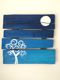 Life tree and moon. Wood sign. Recycled wood.