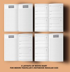bullet journal ideas:  Midori Inserts Movie Printable Midori Pages Movie by GetWellPlan