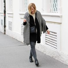 tifmys - Zara scarf, coat and boots, Second Female knit, Céline trio bag & Cheap Monday jeans.