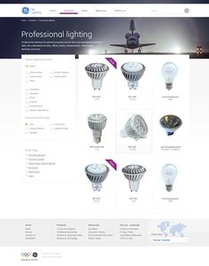 simple yet nice    /    GE Lighting EMEA Website by Peter 'rozmy' Polgar, via Behance