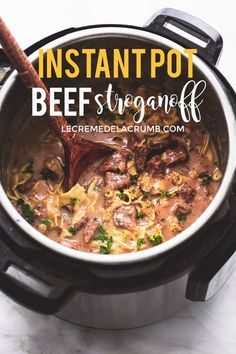 Best Easy Instant Pot Beef Stroganoff - Pressure Cooker - Ideas of Pressure Cooker #PressureCooker - BEST Easy Instant Pot Beef Stroganoff will be a favorite in your home with all the classic flavors and creamy texture of traditional beef stroganoff made super quick and easy in your pressure cooker! | lecremedelacrumb.com #instantpot #easydinners