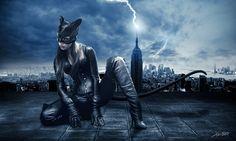 Meisje, nacht, stad, catwoman, catwoman, kostuum, oren, staart, masker, lightning wallpaper