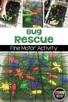 Insect Activities Crawling with Fun Bug Rescue Insect Activities, Fine Motor Activities For Kids, Motor Skills Activities, Toddler Learning Activities, Spring Activities, Childcare Activities, Fine Motor Activity, Preschool Fine Motor Skills, Physical Activities