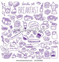 Set Of Various Doodles, Hand Drawn Rough Simple Breakfast Meals Sketches. Vector Illustration Isolated On White Background - 237304681 : Shutterstock