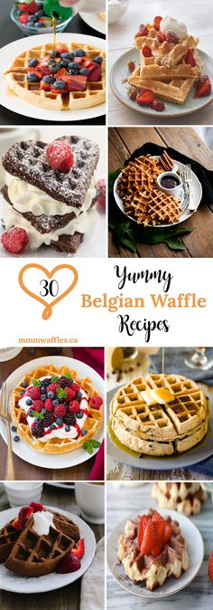 Hungry for waffles? Who isn't?! Check out these 30 delicious Belgian waffle recipes from amazing food bloggers - curated by: mmmwaffles.ca ♥ #waffles #recipes