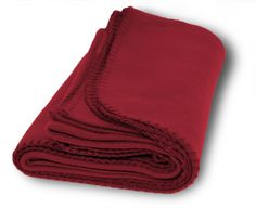 Burgundy Promo Fleece Blanket.Color: burgundyCare: machine wash and dryMeasurements: 50 x 60 inchesMaterial: 100% polyesterFabric: 200 G/SM 2 side brushed, trim- matching whipstitch