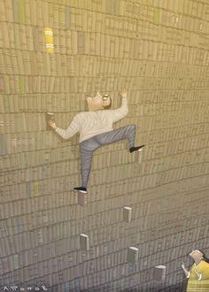 Bibliothécaire escaladant ses rayons de livres /  Librarian…Climbing between books / Bibliotecario…Escalando entre libros (ilustración de Andrei Popov)