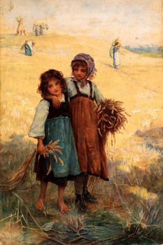 Young Girls At The Edge Of A Cornfield-Frederick Morgan (1847 – 1927, English)
