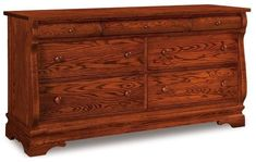Amish Chippewa Sleigh Seven Drawer Dresser When you need more storage for clothing, the Chippewa does it in sleigh like style. Graceful curves and a custom build. Choose from a variety of wood and stain colors. Made in America. #dressers