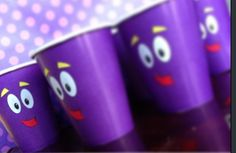 Dora party ideas | turn purple cups into Backpacks face!