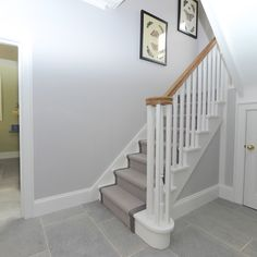 Image score for cornforth white wardrobe with strong white pedestal Grey And White Hallway, Light Grey Walls, White Doors, Hallway Carpet Runners, Carpet Stairs, Stairs With Grey Carpet, Stair Walls, Wood Walls, Stair Runners