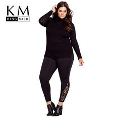 Big Size New Fashion Women Clothing Basic Solid Casual Slim Pants Lace  Patchwork Plus Size Pants 3XL 4XL 5XL 6XL 376f9b9c9dbd
