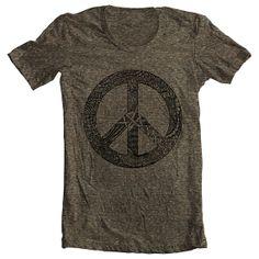 Men's T Shirt Peace Symbol Sign American Apparel Tshirt Tee Short Sleeve Unique Design XS, S, M, L, XL 10 COLORS