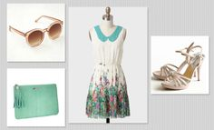 Wedding guest day outfit: Miss Brooks sunglasses in peach by Free People – € 14; python clutch in mint by Gigi New York – € 81; Natural Beauty collared dress – € 41 – and Falling In Love blush heels – € 19 – by Ruche