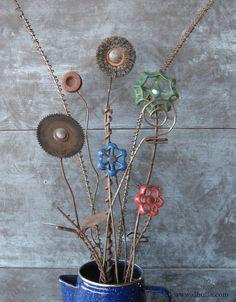 Junk Metal Flower Bouquet by dbulla on Etsy, $52.00