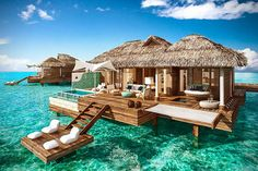 The newest all-inclusive overwater bungalows in the Caribbean are now at private island resort Sandals Montego Bay in Jamaica. Find more of the best all-inclusive overwater bungalow resorts in the Caribbean at Islands. Caribbean All Inclusive, Caribbean Resort, All Inclusive Resorts, Royal Caribbean, Bahamas Resorts, Caribbean Honeymoon, Caribbean Vacations, Jamaica Honeymoon, Honeymoon Destinations All Inclusive