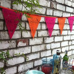 Orange and pink Wedding bunting bright lace by BaloolahBunting