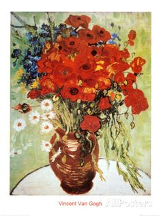 Vase with Daisies and Poppies Prints by Vincent van Gogh at AllPosters.com