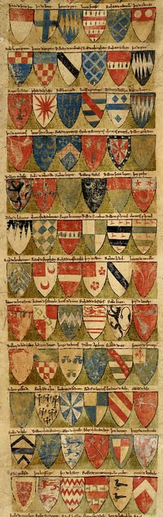 The Dering Roll, made between 1270 and 1280, is the oldest surviving English original roll of arms.