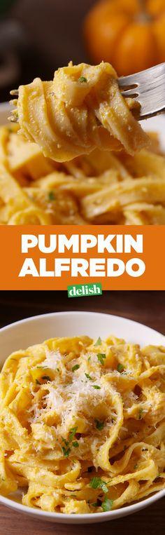 Pumpkin alfredo is legit #PastaGoals. Get the recipe on Delish.com.