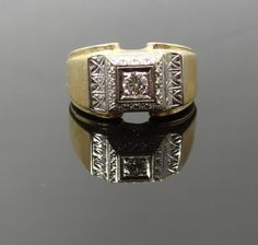 Unique 1940s Two Tone Engraved Top Mens Diamond Ring - RGDI433P