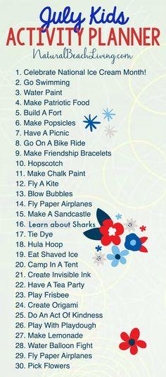 Free Summer Activity Calendar Kids Love, July activity calendar, Free Summer Ideas for Kids, Boredom Busters, Summer Bucket List Ideas, Free Printables