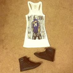 White tank Super cute white laker tank! New without tags! Tops Tank Tops