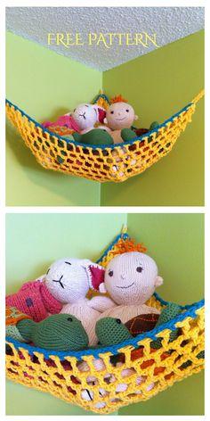 Stuffed Animal Holder, Stuffed Animal Hammock, Softie Pattern, Crochet Basket Pattern, Crochet Patterns, Crochet Home, Crochet For Kids, Diy Crochet, Crochet Organizer