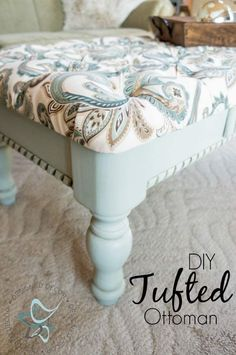 DIY~ Tufted Coffee Table Bench ~- Designed Decor Diy-Tufted-Ottoman-Coffee Table-repurposed-furniture-painted- bench-www. Furniture Makeover, Painted Benches, Diy Tufted Ottoman, Diy Ottoman Coffee Table, Diy Furniture, Furniture, Home Furniture, Repurposed Furniture, Ottoman Coffee Table