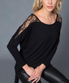 5c4c1ffdd0939 Milan Kiss Black Lace Shoulder Top - Women