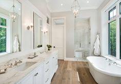 Bathroom decor, Bathroom decoration, Bathroom DIY and Crafts, Bathroom Interior design Wood Floor Bathroom, Bathroom Layout, Bathroom Colors, Bathroom Furniture, Small Bathroom, Bathroom Ideas, Hardwood Floors In Bathroom, White Master Bathroom, Bathroom Hacks