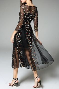 Sheer Tiny Floral Embroidered Dress - BLACK L
