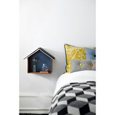 Great bedside shelf by Ferm Living and the roof is perfect for holding a book open too One Bedroom Apartment, Kids Bedroom, Studio Apartment, Kids Rooms, Nursery Room, Bedroom Ideas, Bedside Shelf, Bedside Cabinet, Bedside Tables