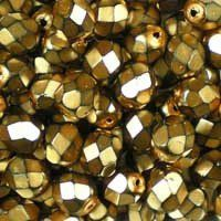 Heavy Metal Beige 6mm top-quality Czech fire-polished, faceted, round glass beads, a metallic dark pinky beige. The lighter colours in this range have a snake-skin effect. UK seller.