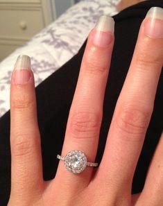 1 carat round halo engagement ring - Google Search