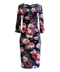 Look what I found on #zulily! Black Floral Guinevere Scallop Neck Dress #zulilyfinds