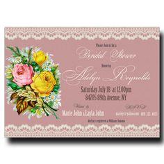 Pink Bridal Shower Invitation - Vintage bridal shower, Lace Invitation, Printable invitation