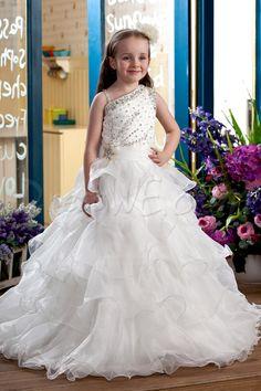 $107.69 Dresswe.comサプライ品エレガントなボールドレスフロア長ティアード&ビーズのフラワーガールのドレス