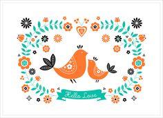 Affiche Printemps Oiseau, Déco Scandinave, de ZÜ pour L'Affiche Moderne