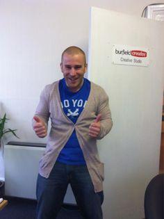 Jon sporting Laura's cardigan in the office today. Brrrr!