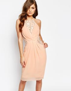 Image 1 ofTFNC Midi Dress with Wrap Front and Lace Detail