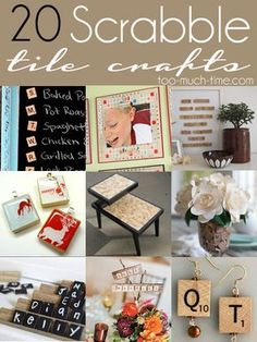 """Welcome to Main Ingredient Monday! 1 Main Ingredient + Tons of Creativity = 20 """"New"""" and amazing projects Here are my 20 favorite Scrabble Tile Crafts for you. If you have a fabulous Scrabble Tile … Scrabble Letter Crafts, Scrabble Tile Crafts, Scrabble Letters, Scrabble Ornaments, Wood Letters, Cute Crafts, Crafts For Kids, Diy Craft Projects, Craft Ideas"""