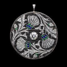 Sapphire, Emerald & Diamond Thistle Disc Pendant (circa 1910)