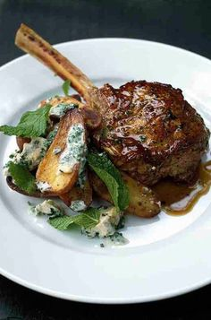 "TYLER FLORENCE'S VEAL CHOP & ROASTED POTATOES with BLUE CHEESE DRESSING ~~~ this recipe is shared with us from the book, ""tyler's ultimate: brilliant simple food to make any time"". [Tyler Florence] [foodily]"